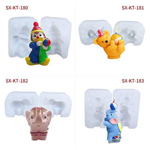 YILANS Moule Silicone 3D, Cirque Clown Ours Elephant Moule en Silicone Moule À La Main Savon Outils De Cuisson Créative Facile À Démoulez Et Facile À Nettoyer (4 Pack)