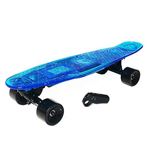 WEHOLY Einmotoriges Radio-Fernbedienungs-Elektro-Skateboard, E-Skateboard mit Fernbedienung, professioneller Stunt-Scooter, ultradünne integrierte Batterie 100-W-Motor Bis zu 18 km Reichweite, Blau