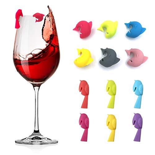 Besylo Silkon Glas Markierung, Markierungen für Gläser, Glas Markierung, Getränk Marker Weinglas Marker für Party Family Dinner Bar Tischdekoration, Multicolor, Hai und Vogel, 12 Stück