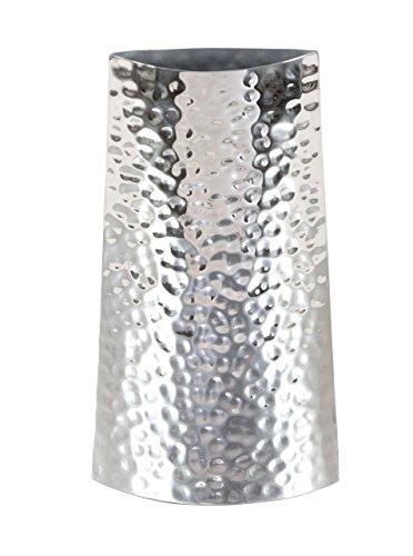 Deco 79 90877 - Jarrón de Acero Inoxidable Martillado, 35,5 x 17,8 cm, Color Plateado