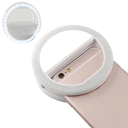UKCOCO Selfie Ring Light con 36 LED Lampadine Flash Lamp Clip Ring Lights Illuminazione Fill-in portatile per telefono Tablet iPad Laptop Camera (bianco)