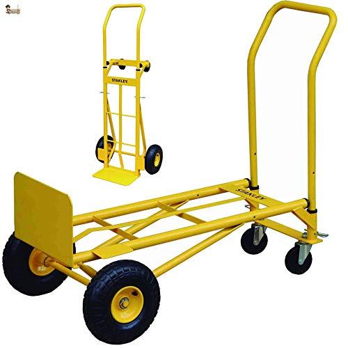BricoLoco Carretilla + Carro plegable transporte con ruedas. Transportador. Plataforma 2 en 1!!!. Carga 200 kgs. Industrial. Almacén, oficina, mudanza, paquetes pesados, cajas.