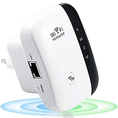 WiFi Répéteur 300Mbps Wireless Mini Repeater sans Fil Adaptateur Amplificateur de Signal Wireless Répétiteur, 2.4GHz Antennes Intégrées Norme,1 Port Ethernet, Protection WPS