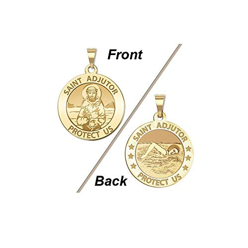 PicturesOnGold.com Saint Adjutor Doubles Sided Female Swimmer Religious Medal - 1 Inch Solid 14K Yellow Gold