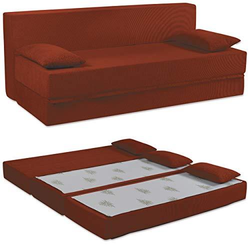 Baldiflex Divano Letto 3 Posti Modello Tetris in Poliuretano Rivestimento Sfoderabile e Lavabile, Colore Rosso Pompeiano