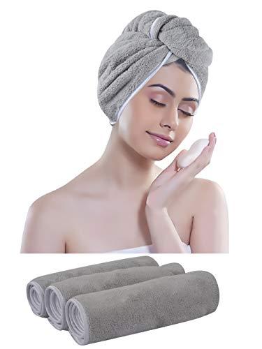 KinHwa Mikrofaser Turban Handtuch für Haare Saugfähigen Kopfhandtuch Groß Super weich für Frau 3 Stück Hellgrau