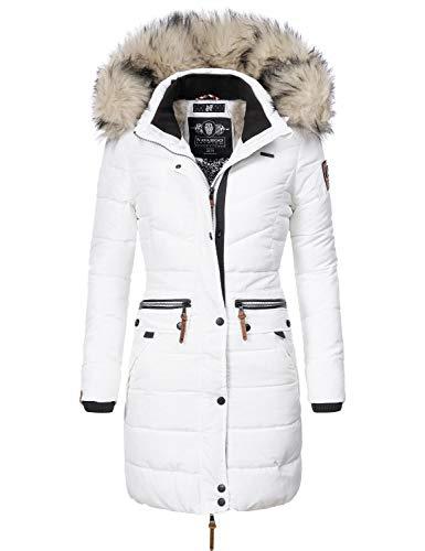 Navahoo Damen Winter Mantel Steppmantel Paula (vegan hergestellt) Weiß Gr. XXL