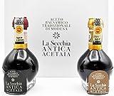 La Secchia - 'Duetto' Dueto de Vinagre Balsámico Tradicional de Módena D.O.P 'Affinato' y 'Extra Vecchio' - 2 Botellas de 100 ml en Paquete Elegante Forrado de Lona.