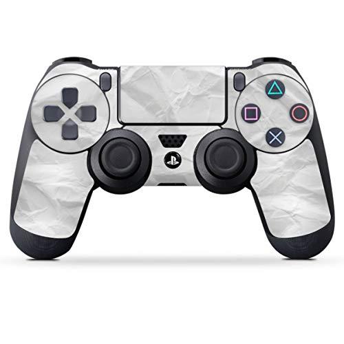 DeinDesign Skin kompatibel mit Sony Playstation 4 PS4 Controller Folie Sticker Papier einfarbig weiß