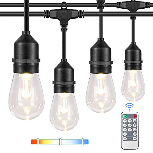 3 Color Dimmable LED Outdoor String Lights with Remotes, 48FT Waterproof Patio Hanging Lights with Shatterproof E26 S14 LED Bulbs for Bistro CafePergola Party, Warm White/Nature White/Daylight White
