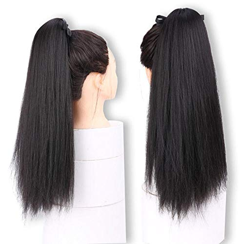 Perruque 20Inch Long Kinky Straight Ponytails Clip In Ponytail Synthetic Ponytail Fake Hair For Women- # 2_20Inches