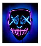 Double Color Led - Halloween Led Mask - Led Face Mask - Led Purge Mask - 10 Option (Pink - Ice Blue)