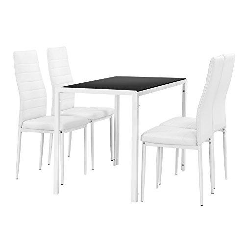 Set de Comedor Moderno Mesa Negra y Blanca + 4 sillas Blancas Piel sintética