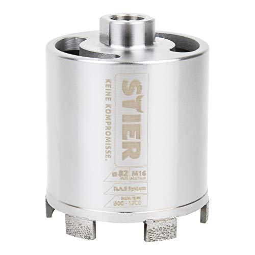 STIER Premium Diamant Dosensenker DAS System für Staubabsaugung, Bohrkrone, Durchmesser: 82 mm, Bohrkopftiefe: 70 mm, M16, Dosenbohrer, Bohrkrone für Steckdosen, Kernbohrer