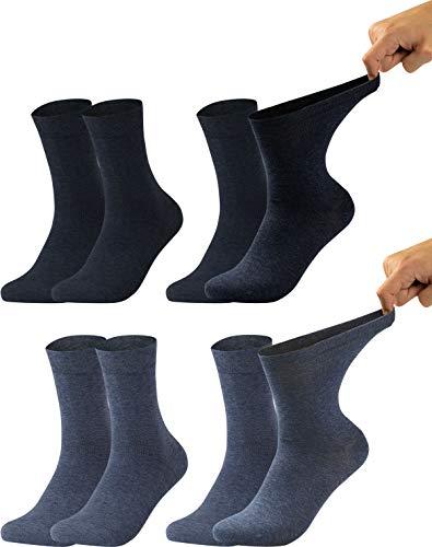 Vitasox 11125 Damen Gesundheitssocken extra weiter Bund ohne Gummi, Venenfreundliche Socken mit breitem Schaft verhindern Einschneiden & Drücken, 4 Paar Jeans-Töne 39/42