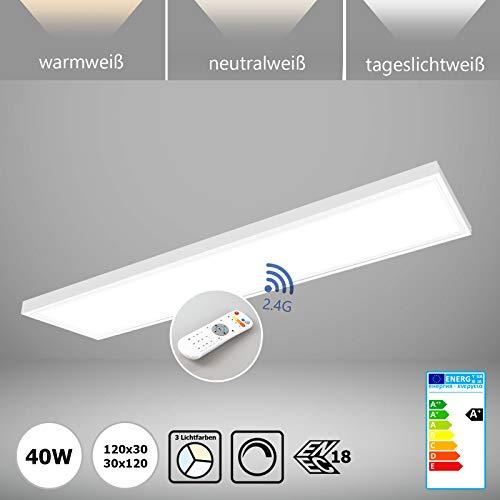 LED Panel dimmbar mit Fernbedienung 120x30 inkl. Aufbau Aufputz-Rahmen Deckenleuchte 40W Farben umschaltbar Deckenlampe warmweiß neutralweiß tageslicht inkl.Treiber ENEC Xtend Serie PLs3.0