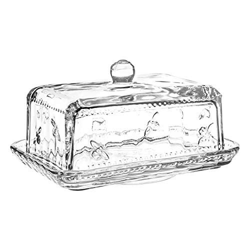 Joules Bumblebee Design Glass Butter Dish | Butter Serving Dish and Lid with Embossed Bee Motif