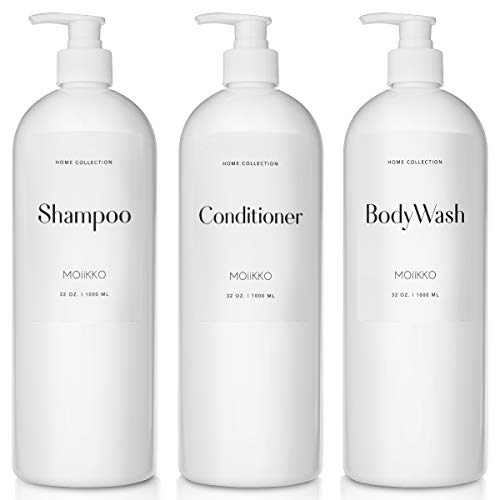 Moiikko Shampoo and Conditioner Bottles - Pack of 3 Refillable, 32oz Empty Shampoo Conditioner Body Wash Dispenser (White) with 8 Waterproof Labels for Modern Bathroom Accessories