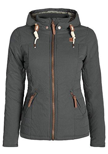 DESIRES Lewy Damen Übergangsjacke Steppjacke leichte Jacke gefüttert mit Kapuze und Stehkragen, Größe:L, Farbe:Dark Grey (2890)