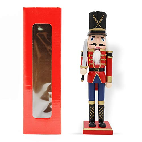 JEFEE Swordman Nutcraker 12inch Nutcracker Figure Trational Collection Wooden Christmas Holiday Nutcracker Decorations Gifts Red