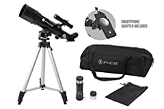 Get up and go! this portable telescope, tripod, and Accessories fit inside of a nylon duffle bag for convenience. No tools are required for setup. Extend the tripod legs, slip in the optical tube and start observing. Observe terrestrial or celestial ...