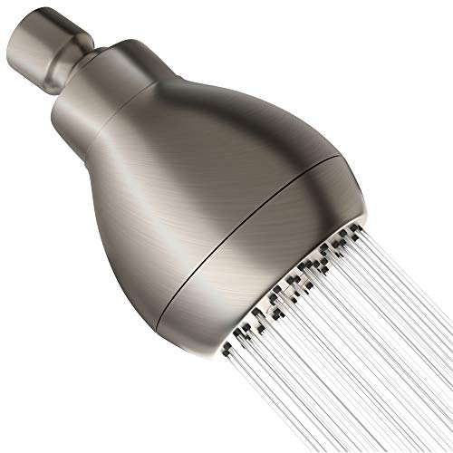 High Pressure Shower Head - Brushed Nickel - Powerful Deluxe Bathroom Showerhead with Strong Spray Stream and Small Silicone Nozzles - Universal Fit Works with High and Low Water Flow Showers