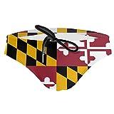NiYoung Mens Adjustable Drawstring Bikini Swimming Briefs Swimsuit Sports Shorts Trunks, Cool Maryland Flag, L