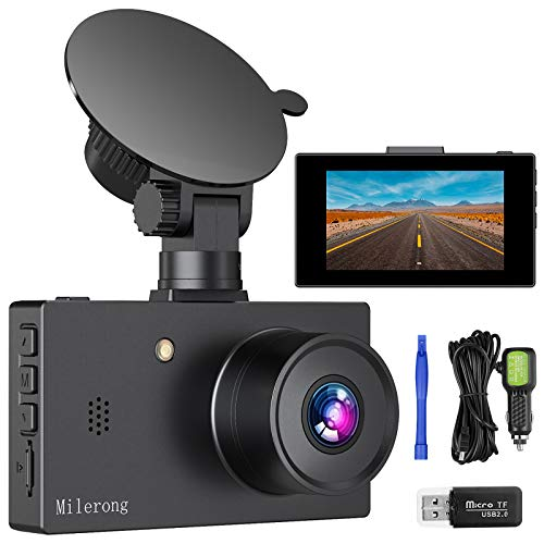 "Milerong Dash Camera for Cars【2020 New Version】 1080P FHD DVR Dash Cams, 3"" LCD Screen 170° Wide Angle Car Camera with Night Vision, G-Sensor, WDR, Parking Monitor, Loop Recording, Motion Detection"