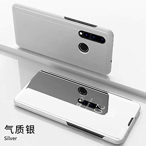 NH Funda Huawei P40 Lite 5G,Funda + Cristal Templado 2 Piezas Flip Clear View Translúcido Espejo Standing Cover Slim Fit Mirror 360°Protectora Cubierta para Huawei P40 Lite 5G Plata