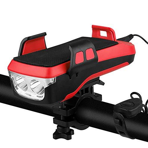 LCHENX-Soporte Movil Bicicleta con USB Recargable Impermeable Ciclismo Faro Delantero, se Adapta a la Bicicleta de Carretera de Montaña,Rojo
