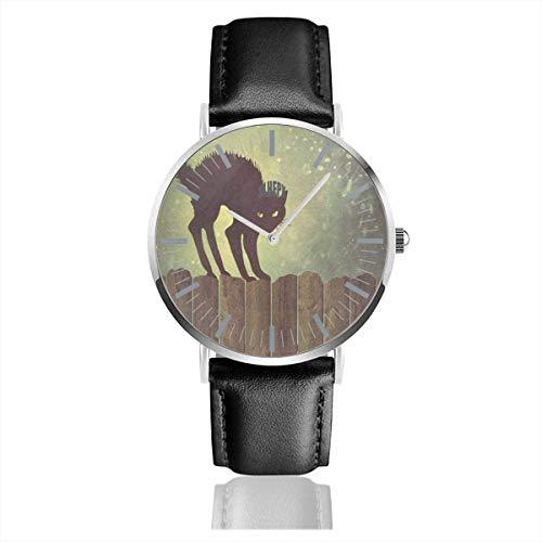 Uhr Schwarze Katze auf Zaun kreative Armbanduhren Quarz Edelstahl und PU-Leder für Unisex