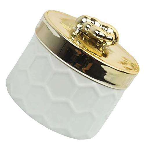 UPKOCH Caixa de Joias de Porcelana Com Tampa de Abelha Dourada Pequena Joalheria Porta- Organizador de Cerâmica Recipiente de Armazenamento de Bugigangas para Decoração de Casa