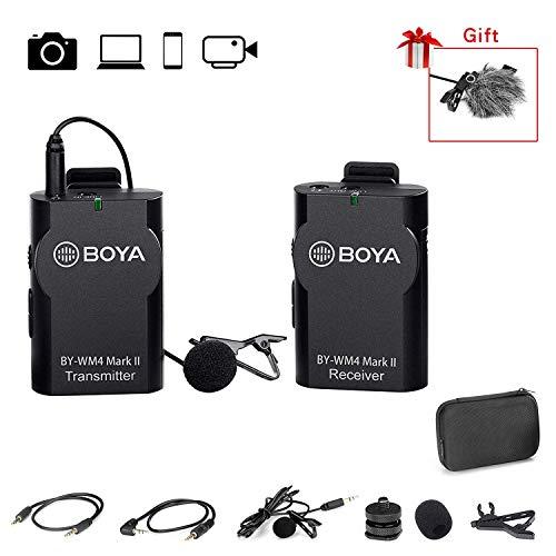 BOYA 2.4GHz Wireless Lavalier Lapel Mic, Sistema de micrófono omnidireccional Grabación de Audio con Easy Clip On, Enchufe de 3.5mm para Canon Nikon Sony DSLR Camera, Videocámara, iPhone Smartphone