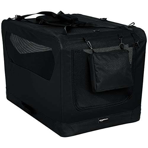 Amazon Basics - Hochwertige Haustier-Transportbox, faltbar, weich - 91 cm, SCHWARZ