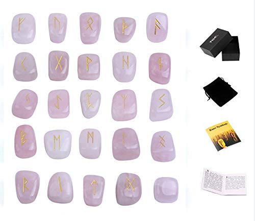 TGS Gems Rose Quartz Rune Stones Set Engraved Pagan Lettering with Instruction Booklet and Velvet Pouch