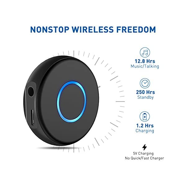 Mini Bluetooth 4.2 Receiver,Wireless Audio Bluetooth Adapter, Portable Hands-Free Car Kits for 3.5mm Audio Devices,TV,Home/Car Stereo Music Streaming Sound System 4