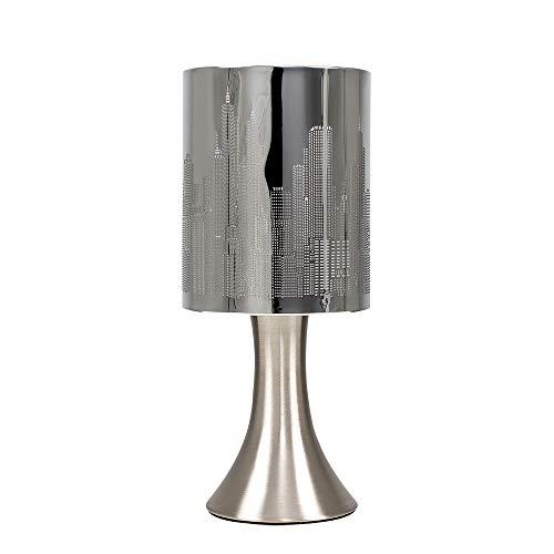 MiniSun - Moderna Lámpara de Mesa Táctil - Diseño Paisaje de Nueva York - Color Cromo - Lámparas de mesita