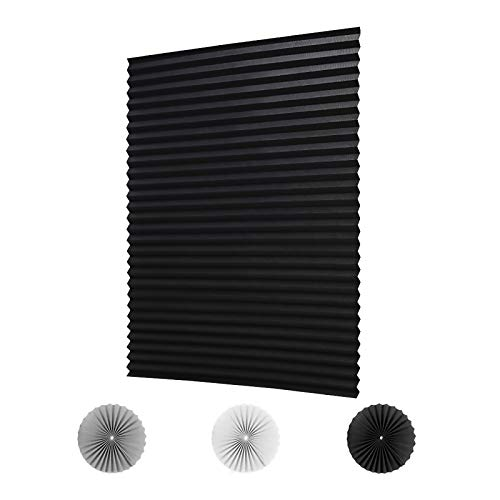 """LUCKUP 2 Pack Cordless Blackout Pleated Fabric Shade,Easy to Cut and Install, with 4 Clips (36""""x72"""" - 2 Pack, Black)"""