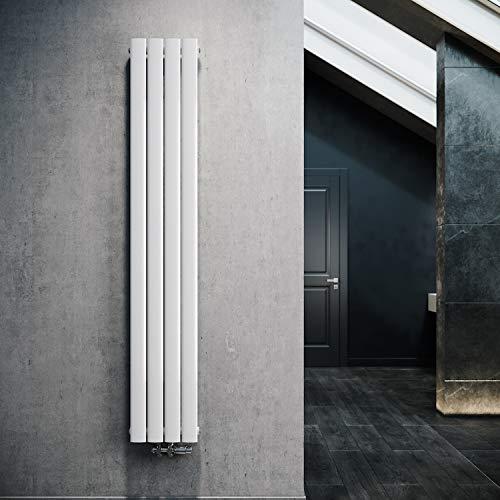 ELEGANTE Termoarredo Design Flat 1800 x 308 mm con Termostato Multiblocco Cromato, Radiatore Piatto Singolo Strato Verticale Attacco Centrale