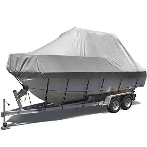 Gycdwjh Fundas para Barcos, Anti-UV Tela Oxford Impermeable Cubierta de Barco 600D Transpirable y Resistente al Viento Boat Cover para V-Hull Barcos y Barcos,Gris,17to19FT