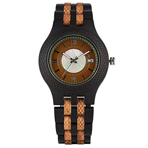 YJRIC Reloj de Madera Reloj de Madera de Negocios para Hombre, Reloj de Cuarzo, Brazalete de Madera Maciza, Reloj para Hombre, visualización de Fecha automática, Relojes para Hombre, Negro