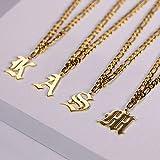 QINS Collar con Letra Inicial Vintage para Mujer, Collar con Colgante de Acero Inoxidable Dorado, joyería de Fuente Inglesa Antigua, Gargantilla para Mujer