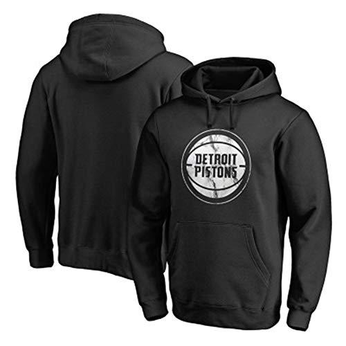 Zxwzzz Manga Larga Ropa De Deporte Camisetas De La NBA Detroit Pistons Baloncesto Suéter Sudadera Impresa Letra De Punto De Los Hombres (Color : Black, Size : XX-Large)