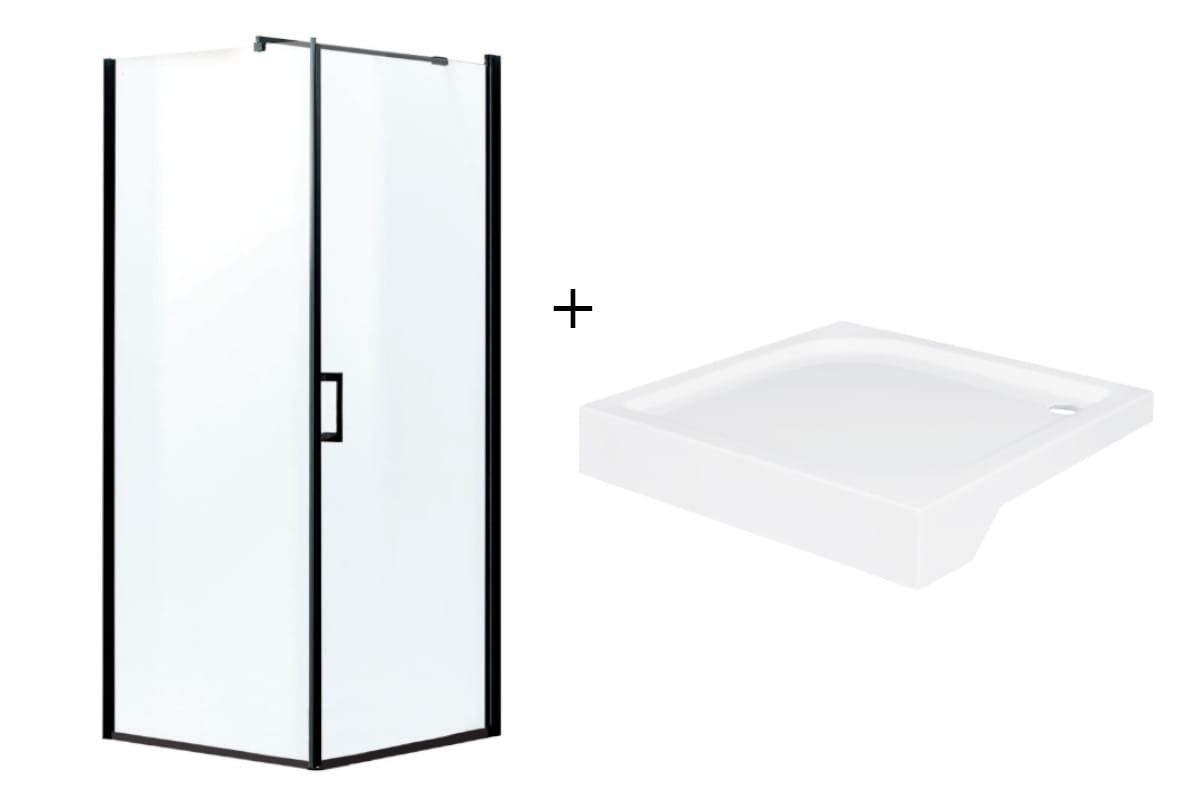 Mampara de ducha esquinera negra 80 x 80 x 190 cm con plato de ducha Loft: Amazon.es: Bricolaje y herramientas