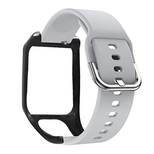 Xiaoyao24 Correa de repuesto de silicona antiarañazos, compatible con Tomtom- Runner 2 / Adventurer/Runner 3 / Spark 3 Sport Watch Accesorios