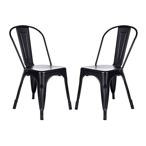 Juego de 2 sillas de comedor de metal, apilables, estilo vintage, para exteriores, exteriores, exteriores, restaurantes, bodas, cafeterías, patios, etc.