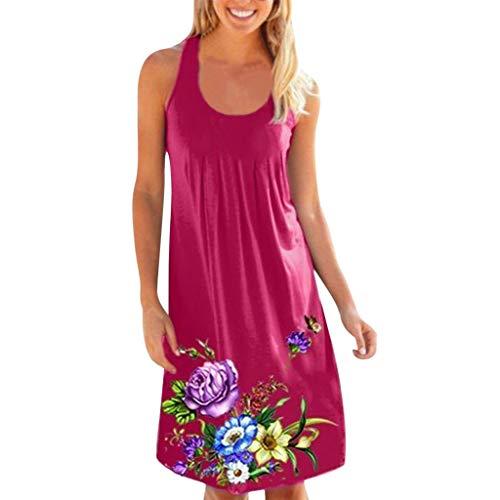 TWIFER Damen Einfaches Kleider Basic Casual A-Linie Skaterkleid Ärmellos Freizeitkleider Beiläufige Shirt Lose Rundhals Mit Blumen Bedruckt
