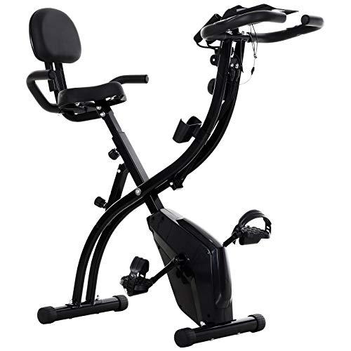 homcom Spinning Cyclette Spin Bike Pieghevole da Camera in Acciaio Nero con Bande Elastiche, Carico Massimo 120kg