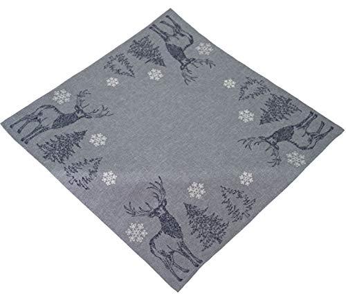 Raebel Tischdecke 85 x 85 cm Stickerei Elch Bäume Schneesterne grau weiß Silber Mitteldecke Weihnachten Deko Weihnachtstischdecke