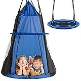 RELAX4LIFE Ø100 cm Nestschaukel mit Zelt, Gartenschaukel mit Tür & Fenster, Höhenverstellbares Hängezelt, bis 150 kg belastbar, Kinderschaukel für Indoor & Outdoor, für Kinder & Erwachsene (Blau)